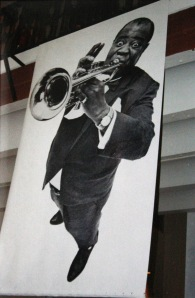 Louis Armstrong banner at the 2002 Satchmo Summerfest in New Orleans.